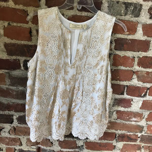 Gold and white flowy top